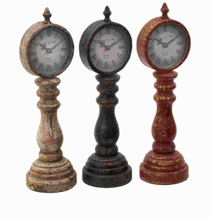 Table Clock Assorted With Antique Charm Look - Set Of 3 - 52785 by Benzara
