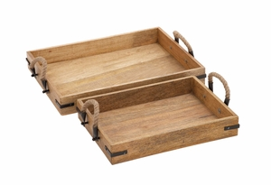 Wood Textured Classy Wood Tray Rohandle - 23849 by Benzara