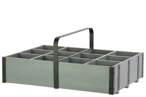 Wood Tray with Metal Handle Metal Edgings and 12 Slots - Slate Gray