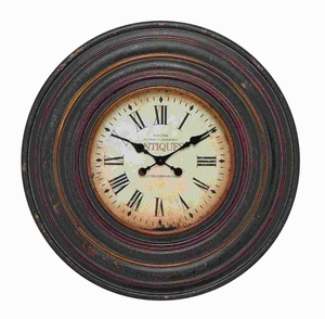 Wall Clock in Vintage inspired Pattern and Dark Brown Finish - 89240 by Benzara