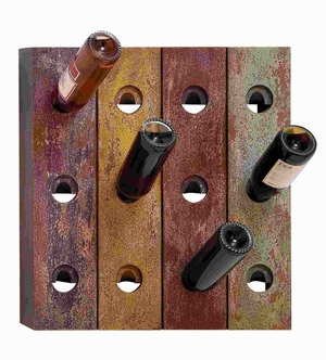 Wall Wine Holder in Rustic Old Finish with 12 Bottle Holes - 50925 by Benzara