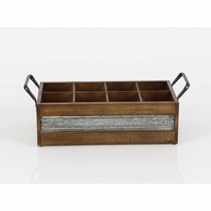 Wood Wine Holder With 6 Sections, Brown - 98147 by Benzara