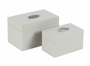 Wooden Agate Box Set Of 2 - 56973 by Benzara
