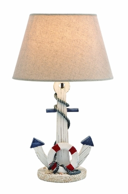 Wooden Anchor Table Lamp With An On/Off Switch In White Shade - 28755 by Benzara