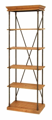 Sophisticated Wooden And Metal Shelf In Brown And Black - 34876 by Benzara