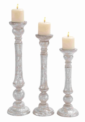 High Quality Wooden Candle Holder With Carved Detailing Set Of 3 - 14430 by Benzara