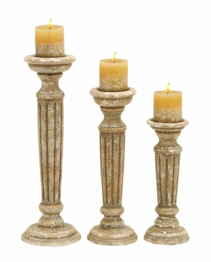 Wooden Candle Holder With Sturdy Wooden Frame (Set Of 3) - 51522 by Benzara