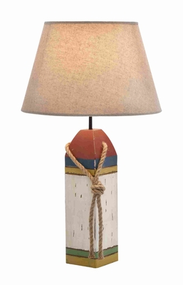 Cylindrical Shaped Shade Wooden Buoy Table Lamp - 28751 by Benzara