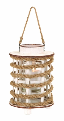 Classic Wooden Glass Rope Extension Lantern With Rustic Finish - 53169 by Benzara