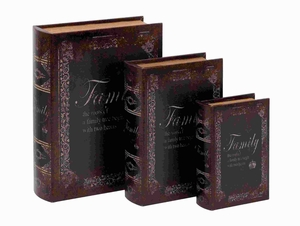 Faux Book Box With Dark Finish - Set Of 3 - 59381 by Benzara