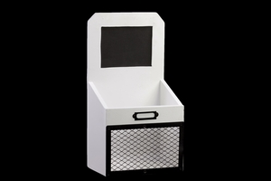 Wooden Mail Organizer Shelf with Card Holder - White and Black
