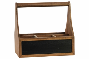 Wooden Organizer with Handle and 4 Slots