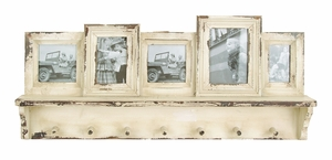 Robust Design Wooden Photo Frame With Hooks And Paneled Accents - 20406 by Benzara