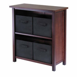 Winsome Wood Wooden Polished Walnut Finish 2-Tiers Storage Shelf