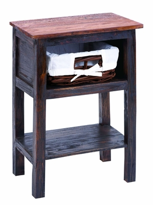 Wooden Rattan End Table With Rust Design And Two Shelves - 38319 by Benzara