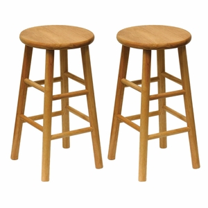 """Winsome Wood Wooden Set of 2 Assembled 24"""" Stool with Beveled Seat"""