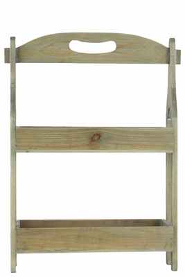 Wooden Shelf with 2 Trays and Wood Handle