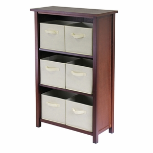 Winsome Wood Verona Walnut Polished 3 Tier Storage Shelf with Baskets