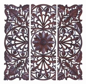 Brown Wooden Wall Plaque - Set Of 3 - 14336 by Benzara