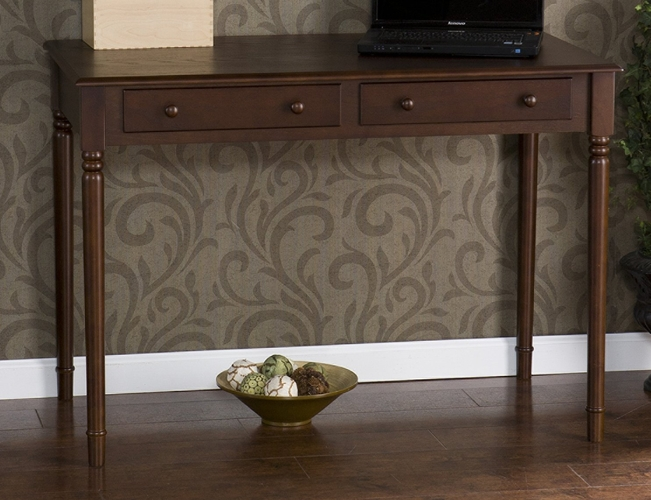 Buy writing 2 drawer desk satin black at for Wild orchid furniture