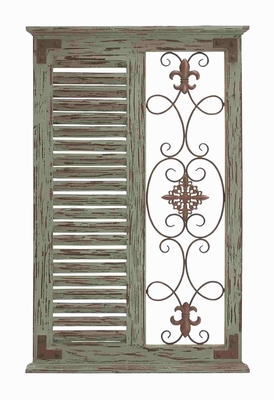 Classic Pine Wood Metal Wall Panel with Parallel Slats of Wood - 50243 by Benzara