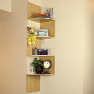 4D Concepts Zigzag Shaped Modish White Wall Corner Storage Shelf