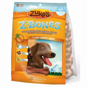 Zuke's Z-Bones Grain Free Edible Dental Chews Clean Carrot Crisp 18 count Small