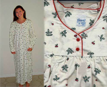 Ladies Cotton Flannel Nightgowns Cherries
