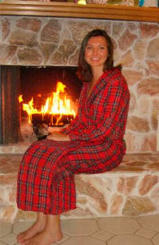 Ladies Cotton Stewart Plaid Flannel Robe