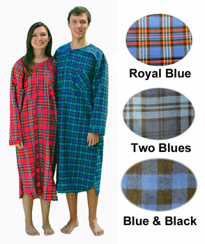 Mens Flannel Nightshirts in 100% Cotton Flannel