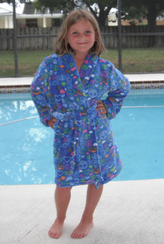 Shawl Collar Kids Fleece Robe in Blue Print