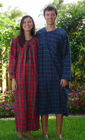 Ladies Cotton Flannel Plaid Nightgown