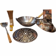 Holiday Special! 14″ Carbon Steel Flat Bottom Wok with Metal Side Handle 7 Pieces Set