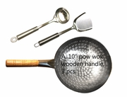 "A.  10"" hand-hammered pow wok with wooden handle, spatula/ladle"
