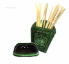antique wall-mount green ceramic chopstick holder