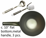 "C.  10"" metal handle pow w/ flat bottom,USA made, spatula/ladle"