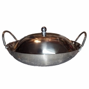 Heavy Gauge stainless steel wok w/lid