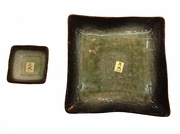 Moss green ceramic square sushi plate