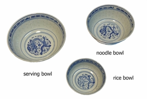 Rice Pattern Noodle and Serving bowls