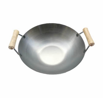 Stainless Steel Usa Made Wok Wtwo Wooden Spool Handles Lid