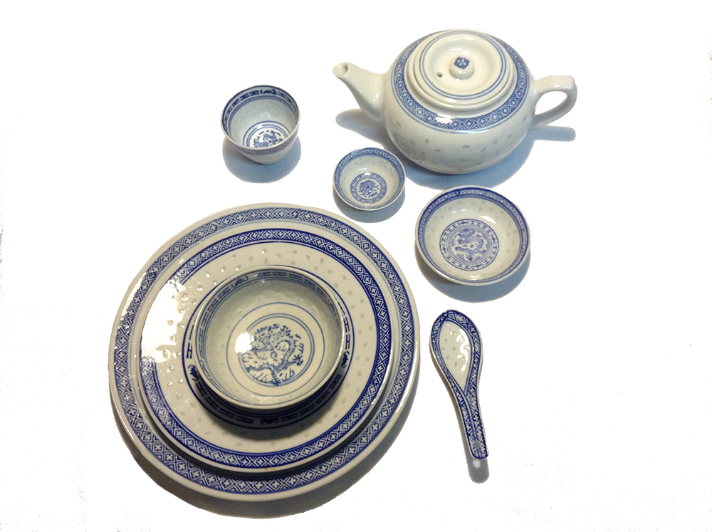 sc 1 st  the Wok Shop & Traditional Blue and White Rice Pattern Porcelain Dinnerware