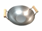 Carbon Steel Wok w/2 Wood Spool Handles - Round or Flat Bottom
