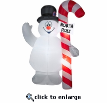 6' Air blown Frosty Hugging North Pole Sign