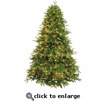 7.5' Poly Blue Ridge Fir 1000 Clear Lights