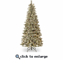 7.5' Prelit Glittery Bristle Pine Slim 500 Clear Lights