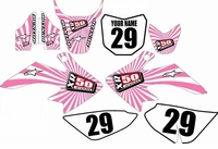 Suzuki DRZ 70 Graphics Kit (Pink/White) Swirl Series by Fast Times