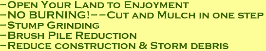 -Open Your Land to Enjoyment -NO BURNING!--Cut and Mulch in one step -Stump Grinding -Brush Pile Reduction -Reduce construction & Storm debris