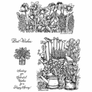 Adirondack Chair & Floral Border Cling Mounted Stamp Set