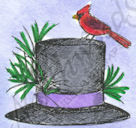 B9299 Hat With Cardinal And Pine