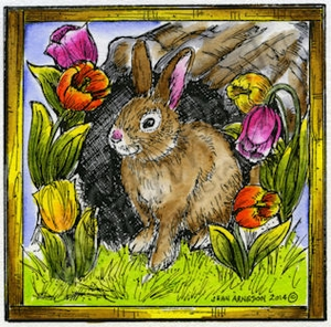 M9429 Bunny And Tulip Hallow In Square